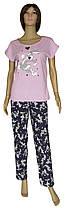 Пижама женская трикотажная, футболка и брюки 21007 Bugs Bunny коттон Розовая с темно-синим
