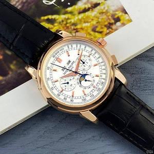 Наручний годинник з автоподзаводом Patek Philippe AAA Black-Gold-Silver Годинник зі шкіряним ремінцем