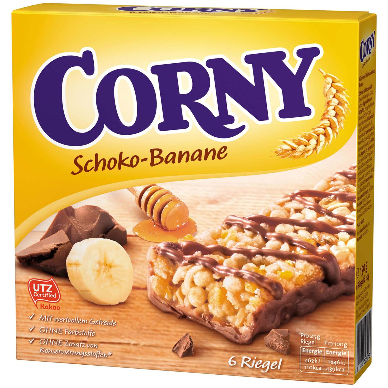 Батончики Corny Schoko Banane 6s 150 g