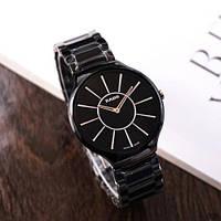 Мужские керамические  наручные часы Rado True Thinline Ceramic Black-Silver Мужские черные часы