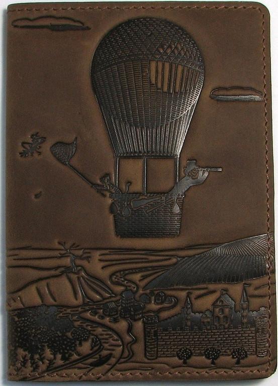 """Кожаная обложка на паспорт - """"Приключения"""" (коричневый) - 220 грн. лицевая сторона"""