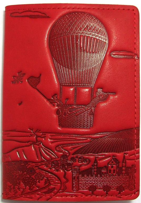 """Кожаная обложка на паспорт - """"Приключения"""" (красный) - 220 грн. лицевая сторона"""