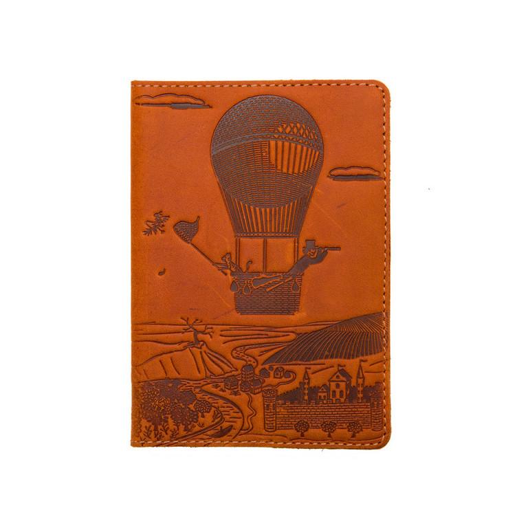 """Кожаная обложка на паспорт - """"Приключения"""" (рыжий) - 220 грн. лицевая сторона"""