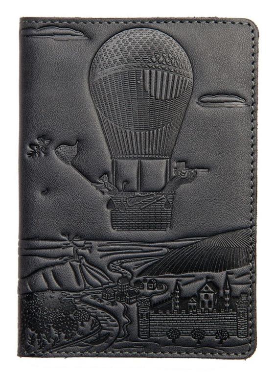 """Кожаная обложка на паспорт - """"Приключения"""" (темно-серый) - 220 грн. лицевая сторона"""