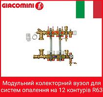 Giacomini Модульний колекторний вузол для систем опалення на 12 контурів R63