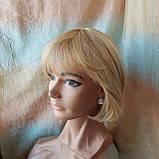 Парик из натуральных волос боб-каре пшеничный блонд ERIN bob- P27/613, фото 4