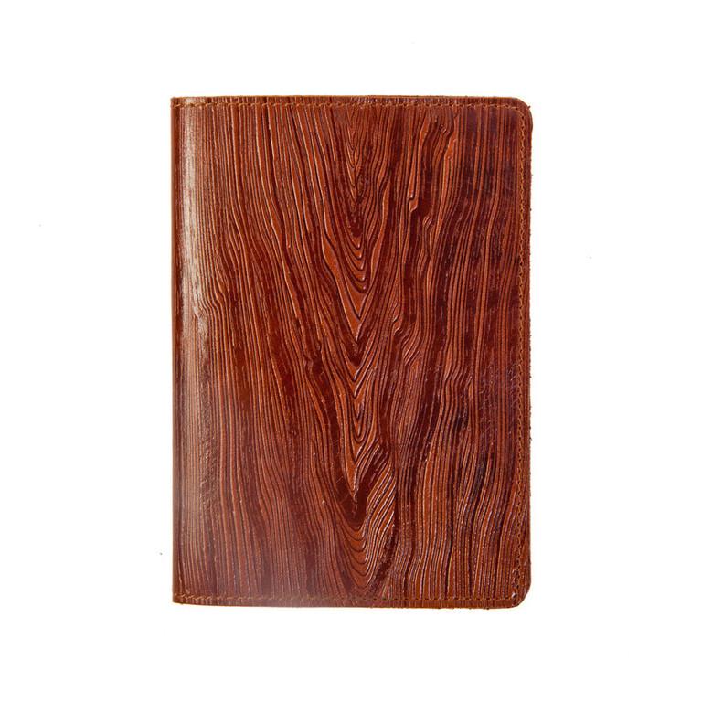 """Кожаная обложка на паспорт - """"Доска""""  Фактура древесины (коричневый) - 220 грн. лицевая и обратная сторона"""