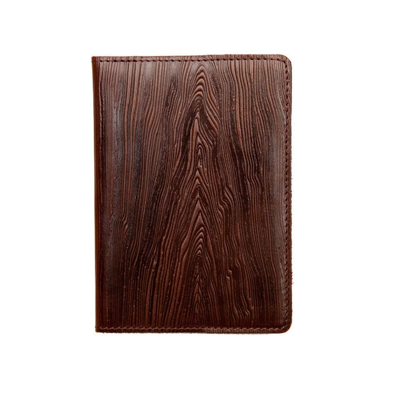 """Кожаная обложка на паспорт - """"Доска""""  Фактура древесины (темно-коричневый) - 220 грн. лицевая и обратная сторона"""