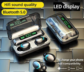 Беспроводные наушники TWS F9-5С Черные Bluetooth  сенсорные HD Stereo Heavy Bass PowerBank.