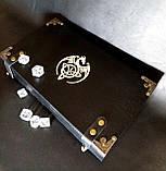 """Черная деревянная подарочная игровая коробка /лоток  для игры в кости """"Dice box"""" с гравировкой и латунным тэго, фото 3"""