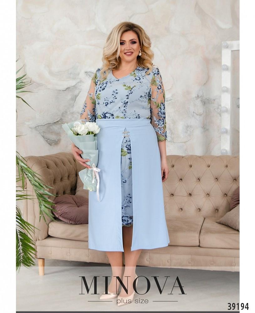 Нарядное вечернее платье батал с ажурной сеточкой на лифе Размеры: 50-52,52-54,54-56,56-58