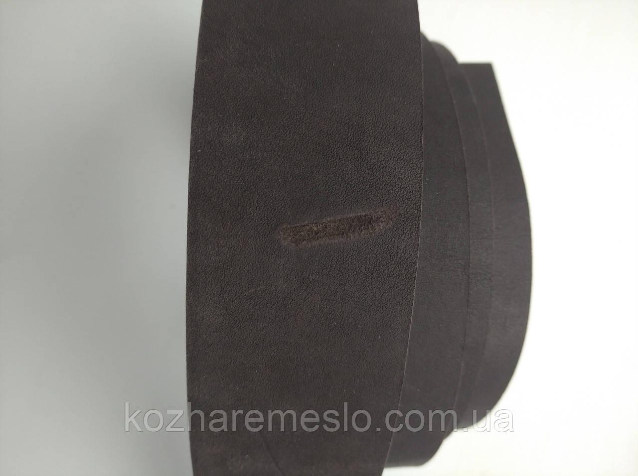 Ременная полоса из кожи хромового дубления  КРАСТ 45 мм, толщина 3,6 - 4,0 мм (УКРАИНА) тёмно-коричневый