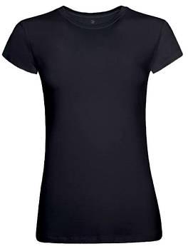 Футболка однотонна жіноча, колір чорний, кругла горловина