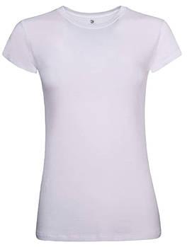 Футболка однотонна жіноча, колір білий, кругла горловина