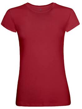 Футболка однотонная женская, цвет красный, круглая горловина