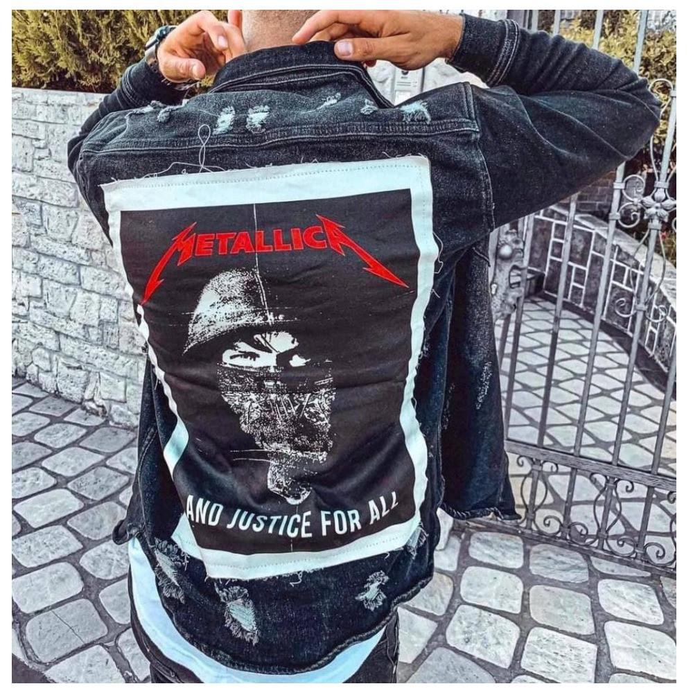 Чоловічий піджак джинсовий куртка чорна з принтом молодіжна | Виробник Туреччина