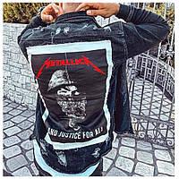 Чоловічий піджак джинсовий куртка чорна з принтом молодіжна | Виробник Туреччина, фото 1