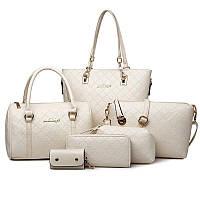 Набор женских сумок 6 в 1 из эко кожи Сумка ,Клантч ,кошелек ,Косметичка ,Ключница