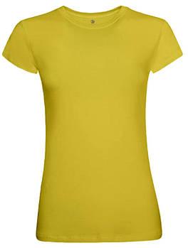 Футболка однотонная женская, цвет желтый, круглая горловина