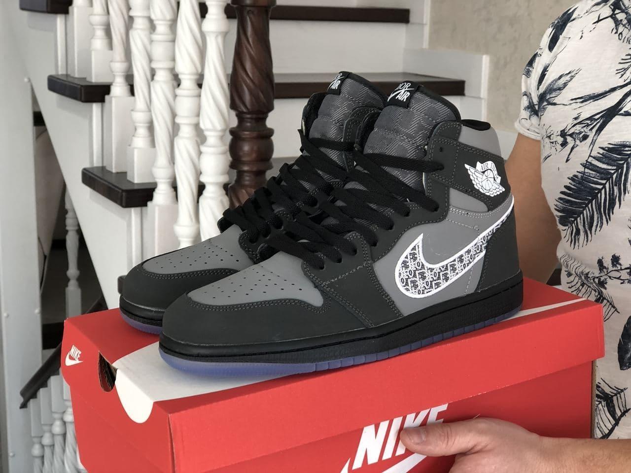 Кросівки Air Jordan 1 High чорні із сірим весна/осінь 41 | 42 | 43 | 44 | 45 | 46