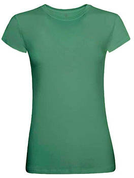 Футболка однотонная женская, цвет зеленый, круглая горловина
