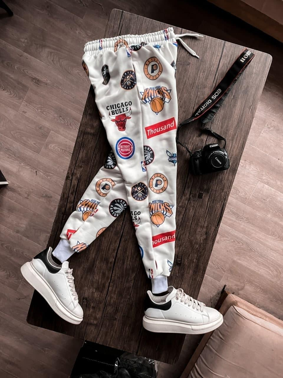 😜Спортивні штани - Чоловічі білі штани спортивки/ чоловічі спортивні штани білі з принтами