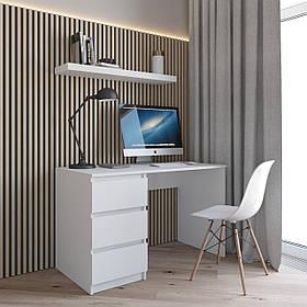 Компьютерный стол, письменный стол с тумбой слева на три выдвижных ящика c фасадами без ручек R-13