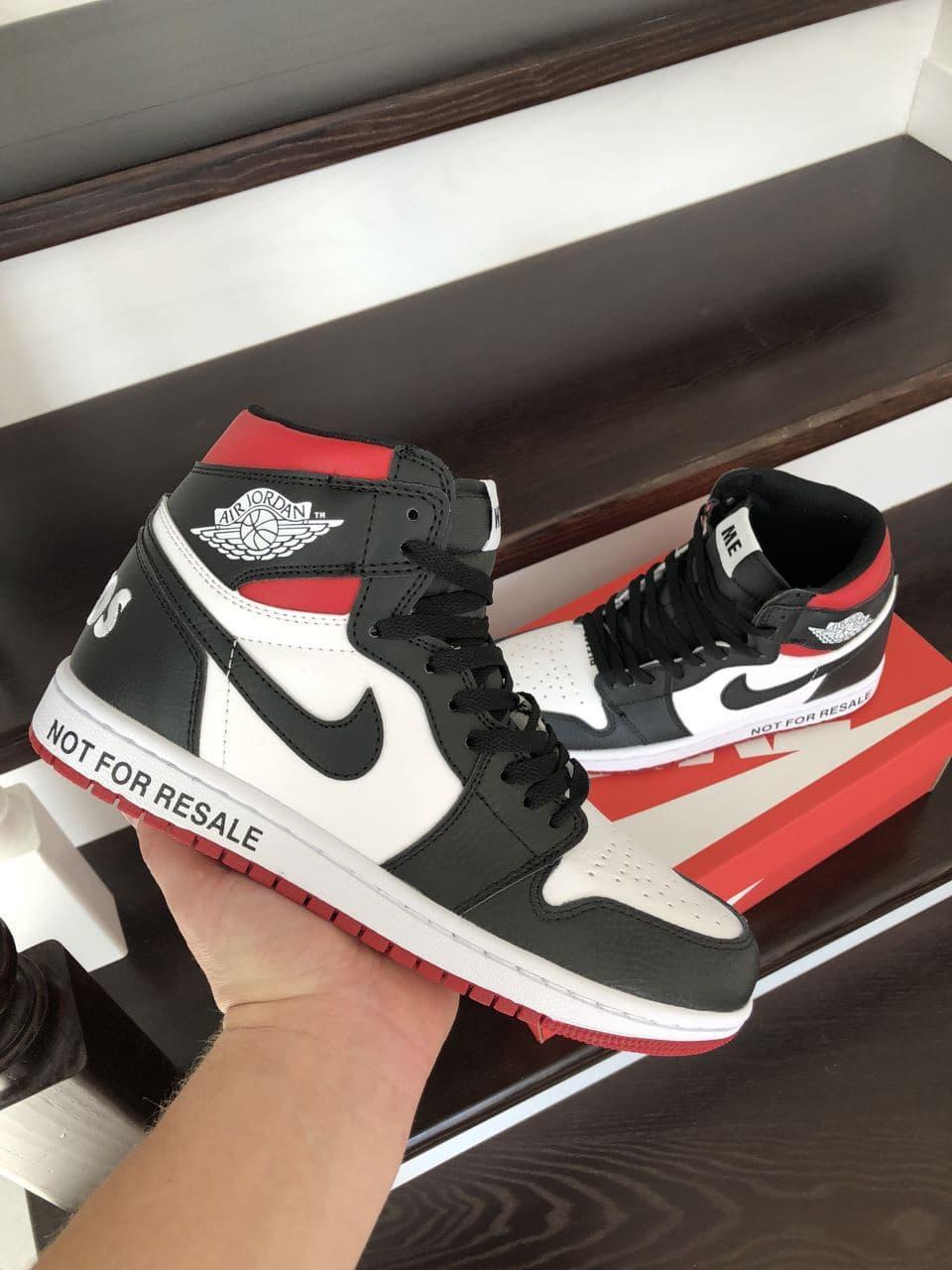 Кросівки  Air Jordan 1 High білі з чорним\червоні весна/осінь  41   42   43   44   45   46