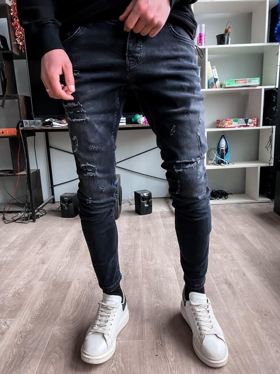 Джинси - Чоловічі чорні джинси / чоловічі джинси чорні рвані