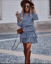 Женское платье с воланами принт