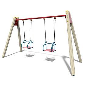 Качели двойные на деревянных стойках на цепях