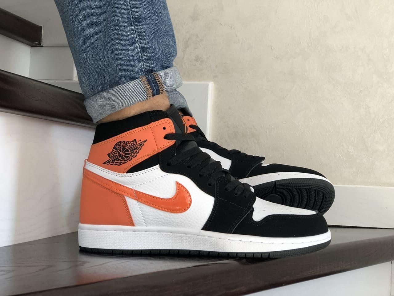 Кросівки  Air Jordan 1 High білі з помаранчевим весна/осінь  41 | 42 | 43 | 44 | 45 | 46
