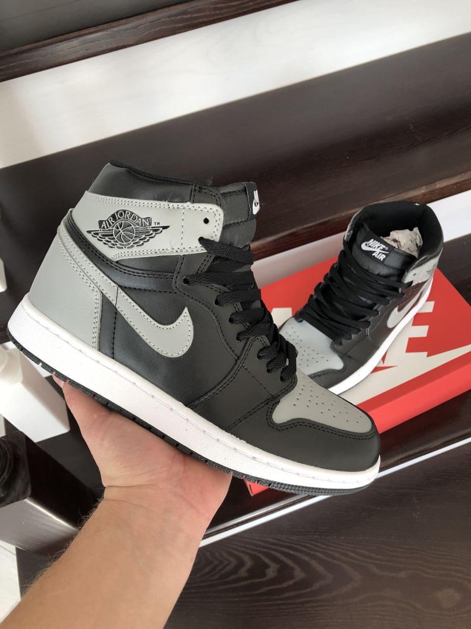 Кросівки  Air Jordan 1 High чорні з сірим\білі весна/осінь  41 | 42 | 43 | 44 | 45 | 46
