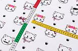 """Поплін шириною 240 см """"Вусаті котики"""" на білому фоні (№3312), фото 4"""