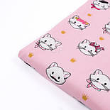 """Поплін шириною 240 см """"Вусаті котики"""" на рожевому фоні (№3311), фото 4"""