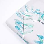 """Поплін шириною 240 см """"Велике листя акації"""" м'ятно-бірюзове на білому тлі (№3309), фото 3"""