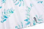 """Поплін шириною 240 см """"Велике листя акації"""" м'ятно-бірюзове на білому тлі (№3309), фото 2"""