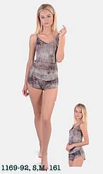 Комплект женской домашней одежды: майка тонкая бретель +шорты,  вискоза N.EL (размер S)