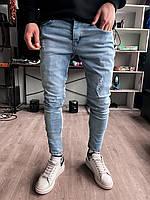 Джинсы - Мужские голубые джинсы зауженые / чоловічі джинси голубі завужені