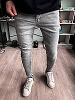 Джинсы - Мужские серые джинсы зауженые / чоловічі джинси сірі завужені класичні