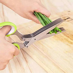 Кухонні ножиці для зелені Herb Scissors 5 гострих лез + щітка для чистки