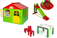 АКЦИЯ МЕГА НАБОР Средний игровой домик со шторками, большая пластиковая горка и столик со стульчиком ТМ Doloni