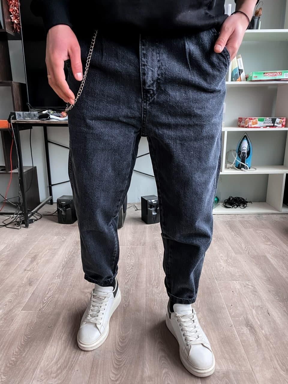 😝 Джинсы - Мужские широкие Джинсы / чоловічі джинси сірі вільного крою