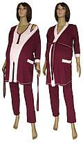 Пижама и халат для беременных и кормящих, в роддом 19016 Mindal Light коттон Бордовый
