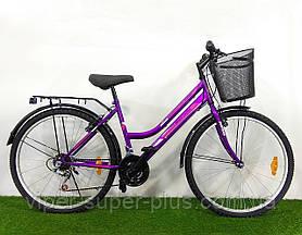 Городской велосипед Mustang Sport (Мустанг Спорт) 26*162 Сиреневый, Женская Рама, Корзинка Багажник 21 передач