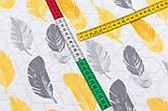 """Ранфорс """"Перья на ромбах"""" жёлтые и серые, ширина 240 см (№3255), фото 4"""