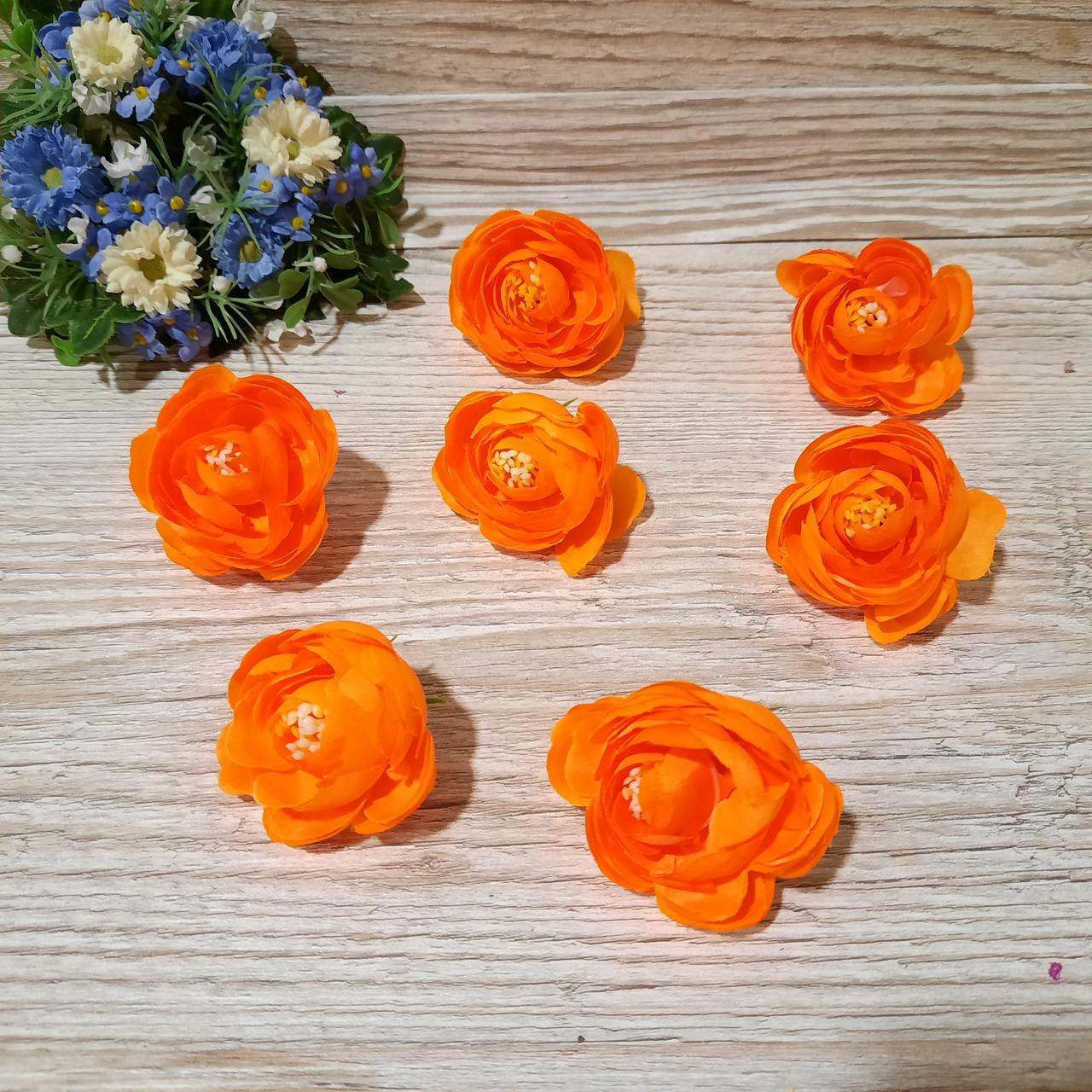 Пионы (рунюнкулюсы) из ткани оранжевые, диаметр 4 см