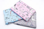 "Лоскут сатина ""Единороги с пончиками и кексами"" на розовом, №3260с, размер 43*80 см, фото 6"