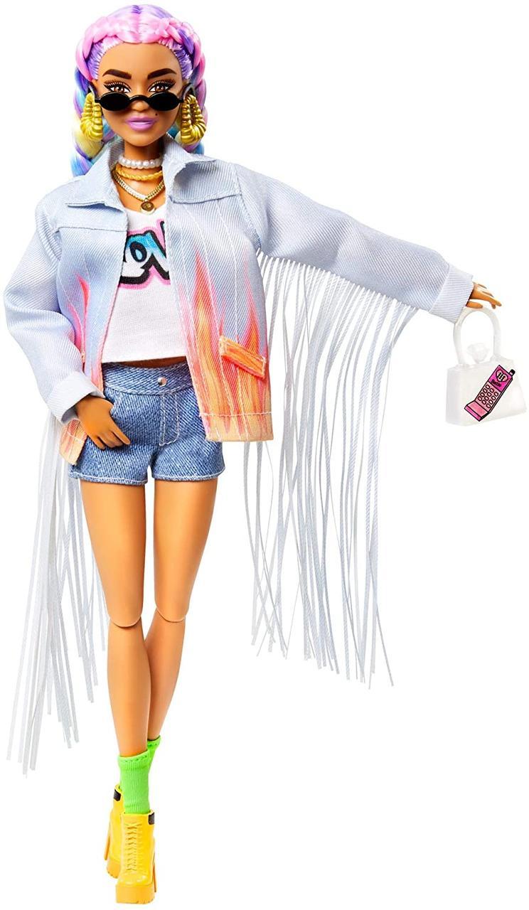 Кукла Барби (Экстра модная Мулатка) + 15 акс - Barbie Extra Doll in Long-Fringe Denim Jacket with Pet Puppy