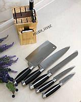 Кухонный набор ножей на деревянной подставке Edenberg с ножницами. Качественные ножи для кухни EB-3612